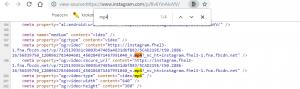 Исходный код страницы с видео в Инстаграме