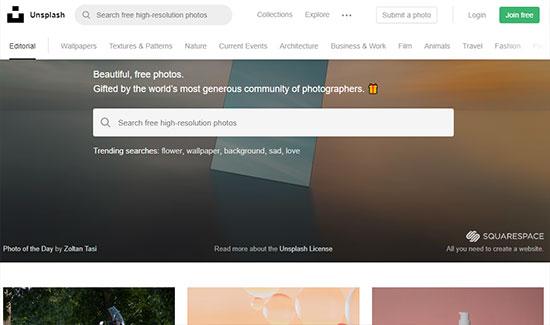 Скриншот сайта Unsplash