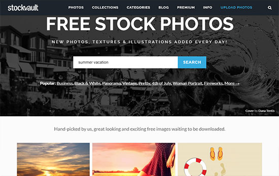 Скриншот сайта Stockvault