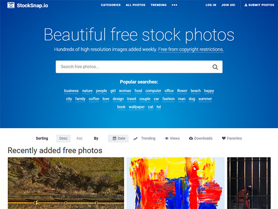 Скриншот сайта StockSnap