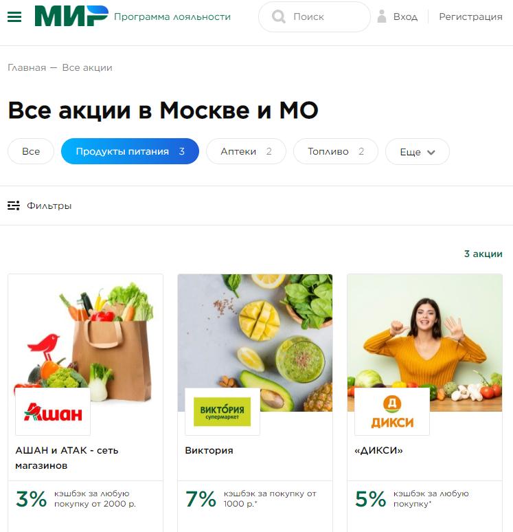 """Партнеры карты """"Мир"""" в категории Продукты питания"""