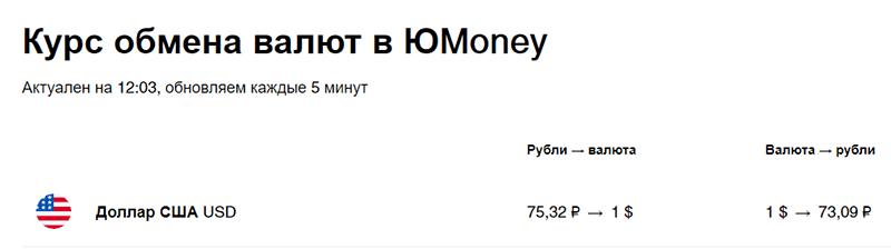Курс обмена валют в ЮMoney